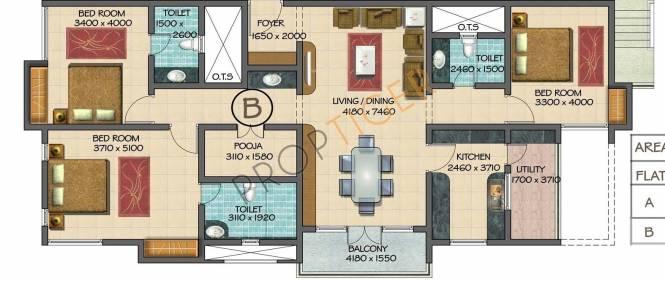 Devinarayan Lexington Terrace (3BHK+3T (2,045 sq ft)   Pooja Room Apartment 2045 sq ft)