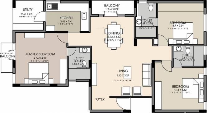 Skanda Sky (3BHK+3T (1,820 sq ft) Apartment 1820 sq ft)