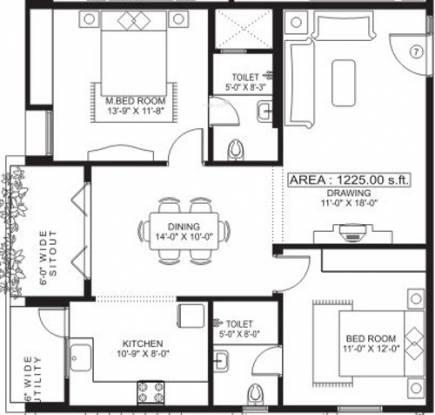 Sandeep Dhruva Apartment (2BHK+2T (1,225 sq ft) Apartment 1225 sq ft)