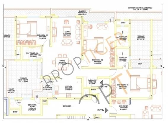 Sobha Lavender (3BHK+3T (2,573 sq ft) + Servant Room Apartment 2573 sq ft)