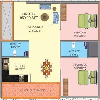 Prabhavathi Plasma (2BHK+2T (850 sq ft) Apartment 850 sq ft)