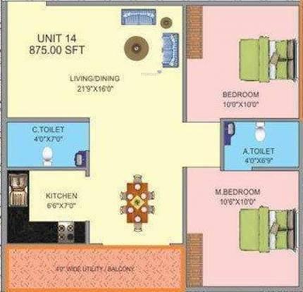 Prabhavathi Plasma (2BHK+2T (875 sq ft) Apartment 875 sq ft)