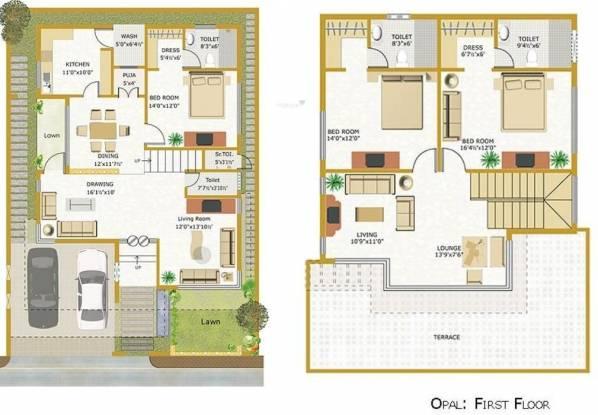 Indaus Indaus Boulevard (3BHK+4T (3,166 sq ft)   Pooja Room Villa 3166 sq ft)