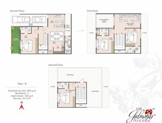 MJR Gulmohar Avenue (4BHK+4T (2,905 sq ft)   Servant Room Villa 2905 sq ft)