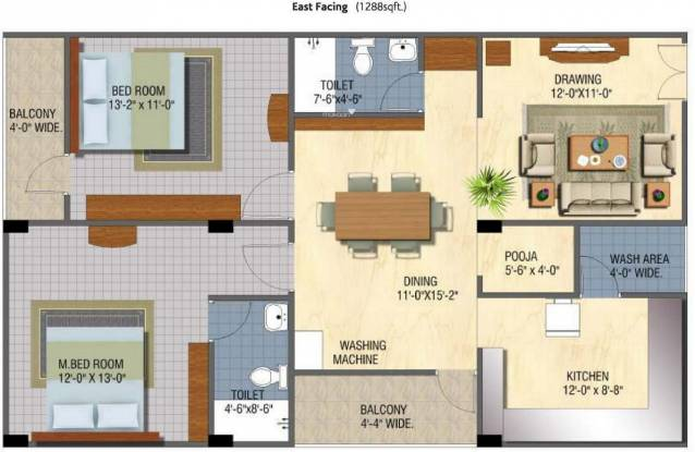 Sanaathana Chamanti (2BHK+2T (1,288 sq ft) Apartment 1288 sq ft)