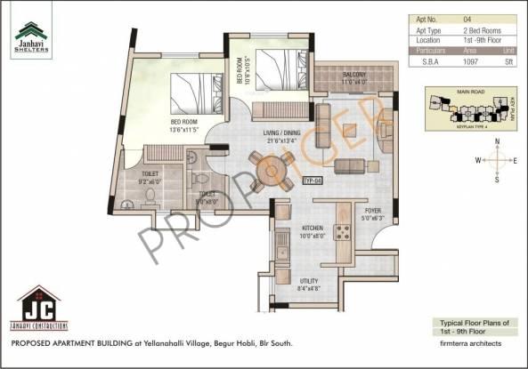 Janhavi Janhavi Shelters (2BHK+2T (1,097 sq ft) Apartment 1097 sq ft)