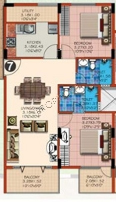 Venkat Wings Royal (2BHK+2T (961 sq ft) Apartment 961 sq ft)
