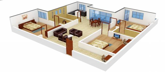 Jupiter Commanders Pinnacle (3BHK+3T (1,782 sq ft)   Study Room Apartment 1782 sq ft)