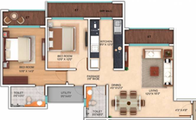 Neelkanth Enclave (2BHK+2T (1,188 sq ft) Apartment 1188 sq ft)