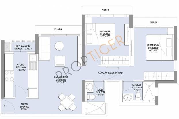 L&T Emerald Isle (2BHK+2T (985 sq ft) Apartment 985 sq ft)