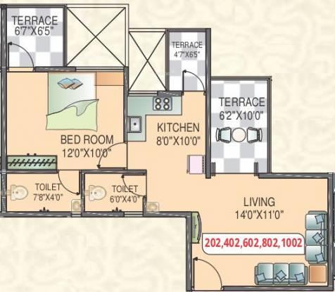 Polite Panorama (1BHK+2T (696 sq ft) Apartment 696 sq ft)