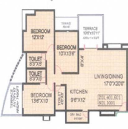 KUL Shantiniketan Phase 1 (3BHK+3T (1,350 sq ft) Apartment 1350 sq ft)