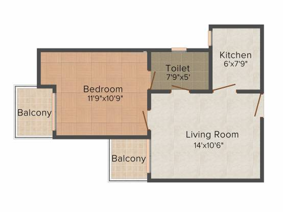 Maxblis Grand Kingston (1BHK+1T (615 sq ft) Apartment 615 sq ft)