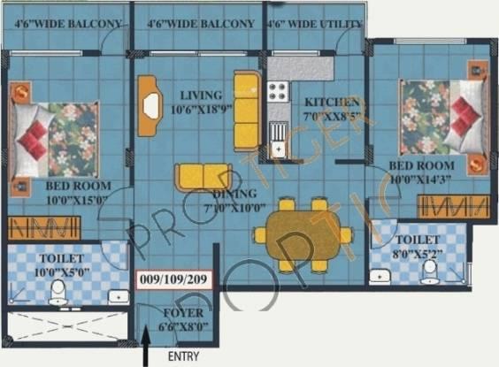 Vintage Vintage Sunshine (2BHK+2T (1,061 sq ft) Apartment 1061 sq ft)