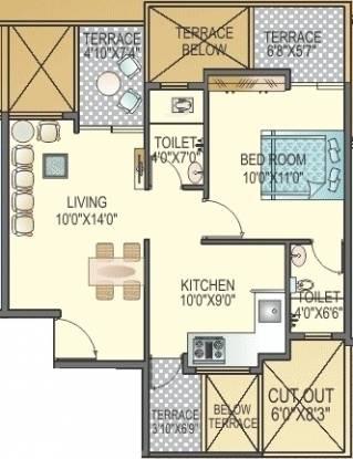 Polite Paradise (1BHK+2T (721 sq ft) Apartment 721 sq ft)