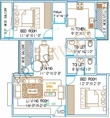 Shree Green Woods (2BHK+2T (975 sq ft) Apartment 975 sq ft)