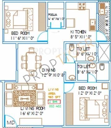 Shree Green Woods (2BHK+2T (983 sq ft) Apartment 983 sq ft)