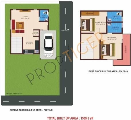 NBR Homes (2BHK+3T (1,509 sq ft)   Pooja Room Villa 1509 sq ft)
