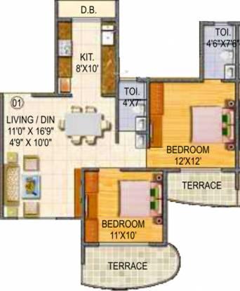 Paradise Sai Miracle (2BHK+2T (1,200 sq ft) Apartment 1200 sq ft)