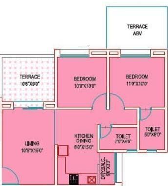 Sree Aishwaryam Greens Phase II (2BHK+2T (950 sq ft) Apartment 950 sq ft)