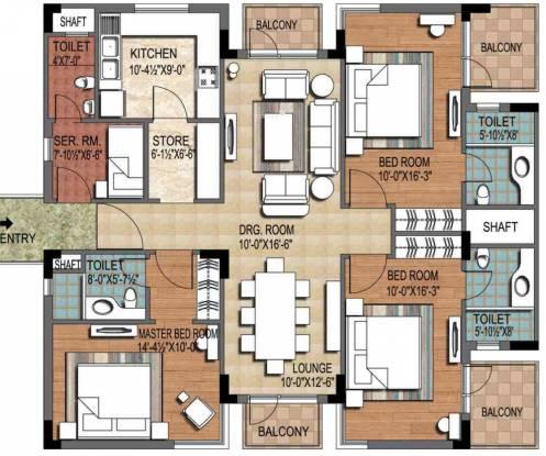 Ninex City (3BHK+3T (1,952 sq ft) + Servant Room Apartment 1952 sq ft)