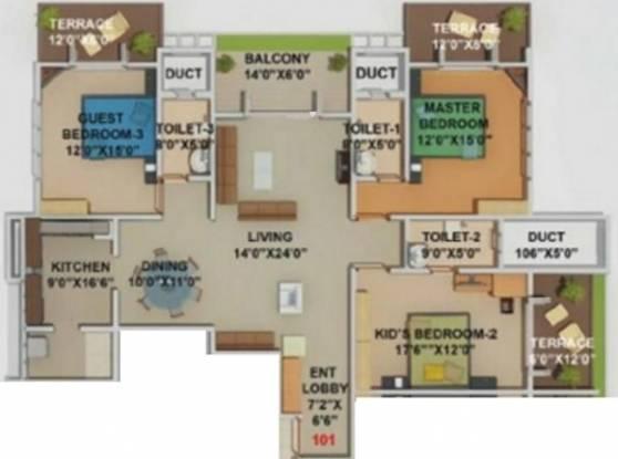 Kool Homes Blue Lotus (3BHK+3T (2,255 sq ft) Apartment 2255 sq ft)