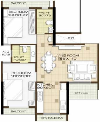Kaamdhenu Sai Anant (2BHK+2T (1,060 sq ft) Apartment 1060 sq ft)