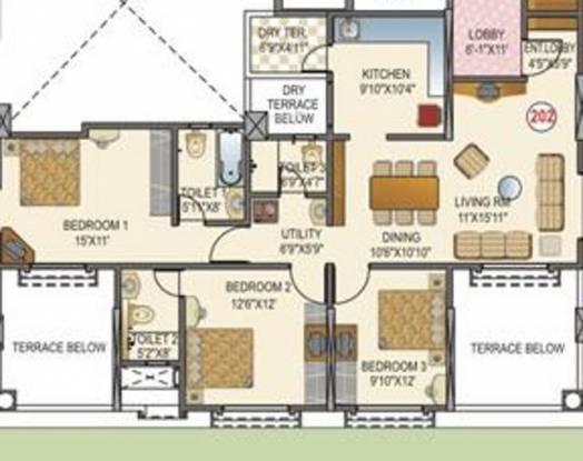 Paranjape La Cresta (3BHK+3T (1,600 sq ft) Apartment 1600 sq ft)