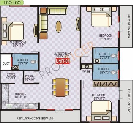 Sai Kalpa Arowana (3BHK+3T (1,580 sq ft) Apartment 1580 sq ft)