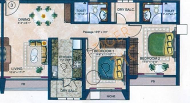 Evershine Cosmic (2BHK+2T (1,095 sq ft) Apartment 1095 sq ft)