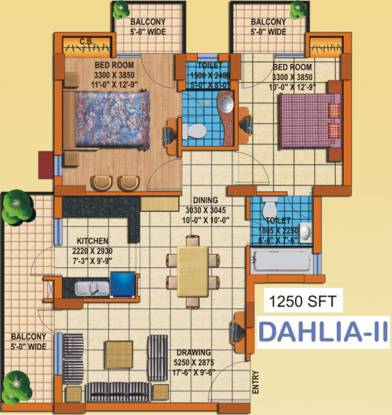 Charms Solitaire (2BHK+2T (1,250 sq ft) Apartment 1250 sq ft)