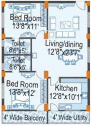 SMR Vinay Hi Lands (2BHK+2T (1,260 sq ft) Apartment 1260 sq ft)