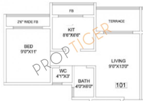 Arihant Arham (1BHK+1T (595 sq ft) Apartment 595 sq ft)