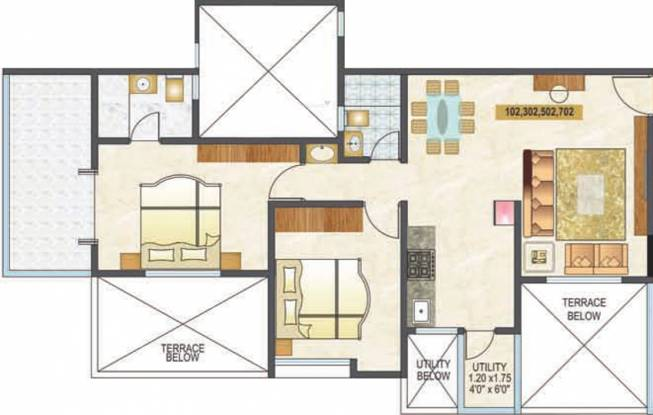 Mittal Silver Crescent (2BHK+2T (950 sq ft) Apartment 950 sq ft)