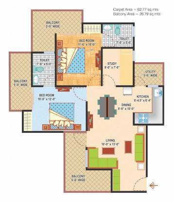 Express Zenith (2BHK+2T (1,310 sq ft)   Study Room Apartment 1310 sq ft)