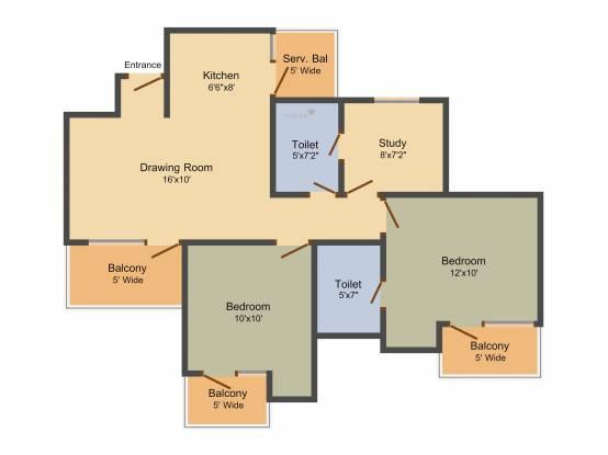 Elegant Elegant Ville (2BHK+2T (1,025 sq ft) + Study Room Apartment 1025 sq ft)