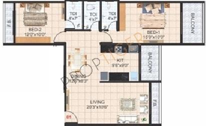 Devkrupa Krishna Tower (2BHK+2T (1,485 sq ft) Apartment 1485 sq ft)
