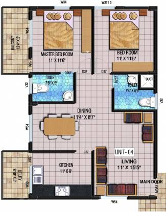 Kristal Quartz 5 (2BHK+2T (1,111 sq ft) Apartment 1111 sq ft)