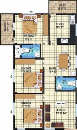 Kristal Quartz 5 (3BHK+2T (1,411 sq ft) Apartment 1411 sq ft)