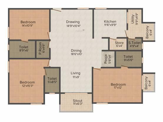 Cybercity Rainbow Vistas Rock Gardens (3BHK+4T (2,160 sq ft) + Servant Room Apartment 2160 sq ft)