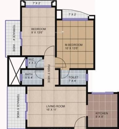 Happy Home Sarvodaya Valley (2BHK+2T (955 sq ft) Apartment 955 sq ft)