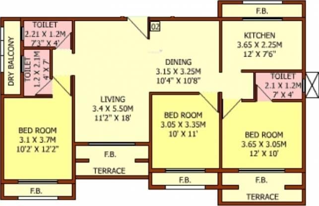 EV Crest (3BHK+3T (1,629 sq ft) Apartment 1629 sq ft)