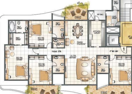 Supreme Pallacio (4BHK+5T (3,000 sq ft) + Servant Room Apartment 3000 sq ft)
