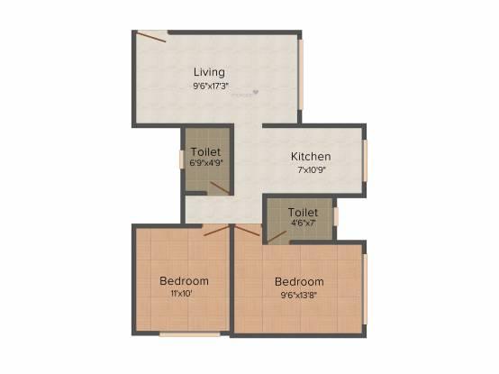 Poddar Samadhan Apartments (2BHK+2T (960 sq ft) Apartment 960 sq ft)