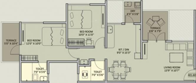 Rainbow Urban Forest (2BHK+2T (1,235 sq ft) Apartment 1235 sq ft)