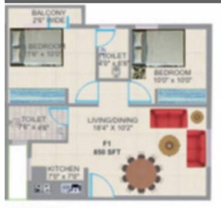 Prabhavathi Palm (2BHK+2T (1,000 sq ft) Apartment 1000 sq ft)