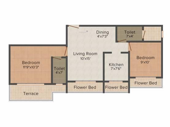 MK Dev Bhoomi (2BHK+2T (1,053 sq ft) Apartment 1053 sq ft)