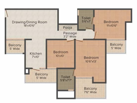 JM Aroma (3BHK+2T (1,325 sq ft) Apartment 1325 sq ft)