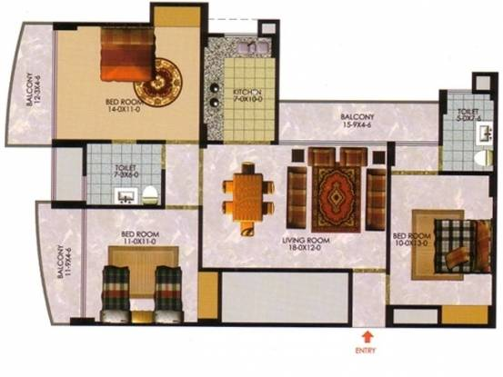 The Antriksh Greens (3BHK+2T (1,455 sq ft) Apartment 1455 sq ft)