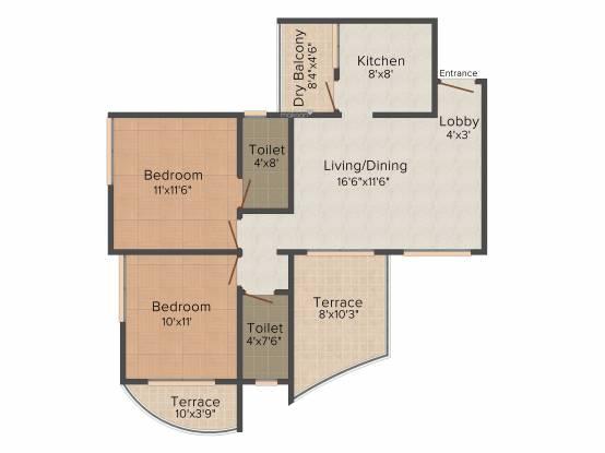 Gemini Grand Bay (2BHK+2T (1,035 sq ft) Apartment 1035 sq ft)